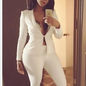 Turn down collar White polyester 2 piece pant suit